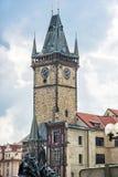 有扬・胡斯纪念品的老城镇厅在布拉格,捷克共和国 库存照片