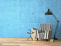 有扶手椅子和书的, 3d客厅 免版税库存图片