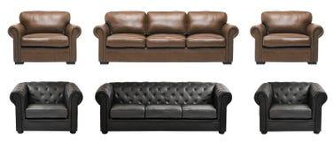 有扶手椅子的精密和豪华皮革沙发 免版税库存照片