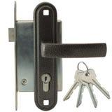 有把柄和钥匙的门锁 库存图片