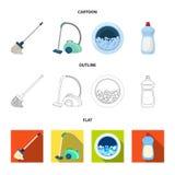 有把柄的一个拖把洗涤的地板、绿色吸尘器、一台洗衣机的窗口用水和泡沫的, a 库存照片