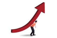 有投资成长曲线图的男性投资者 库存图片