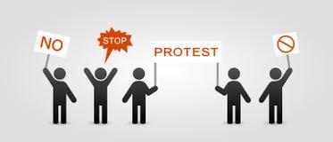 有抗议招贴的人们 皇族释放例证
