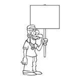 有抗议标志的黑白愉快的嬉皮 免版税库存图片