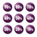 有折扣的明亮的紫罗兰色紫色圆的按钮标记 库存照片