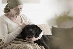 有抚摸狗的头巾的祖母 免版税库存图片