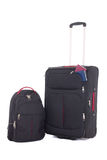 有护照的在白色backgroun隔绝的手提箱和背包 库存图片