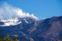 有抽烟的峰顶的埃特纳火山 库存照片