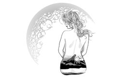 有抽象头发的美丽的时尚女孩 adu的彩图 库存照片