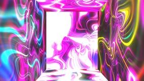 有抽象焕发能量视觉幻觉的在墙壁上, 3d引起背景的翻译计算机方形的未来派室 向量例证