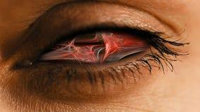 有抽象神经系统的尘土样式的眼睛虹膜 免版税图库摄影