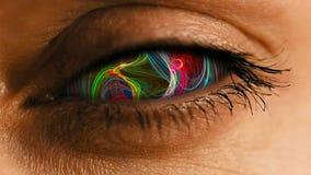 有抽象神经系统的尘土样式的眼睛虹膜 免版税库存图片