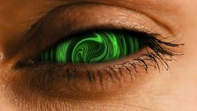 有抽象神经系统的尘土样式的眼睛虹膜 库存照片