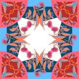 有抽象花的丝绸围巾导航与手拉的花卉元素的样式 库存图片