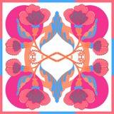 有抽象花的丝绸围巾导航与手拉的花卉元素的样式 免版税库存图片