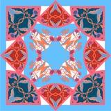 有抽象花的丝绸围巾导航与手拉的花卉元素的样式 库存照片