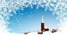 有抽象金银细丝工的Snowflak的美丽的斯诺伊山村 库存图片