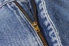 有拉链的特写镜头蓝色牛仔裤 免版税库存图片