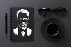 有拉长的画象的黑桌面 免版税库存图片