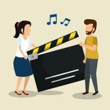 有拍板的人们和听数字音乐 向量例证