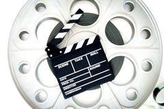 有拍板的原始的老大电影卷轴35mm戏院放映机 库存图片