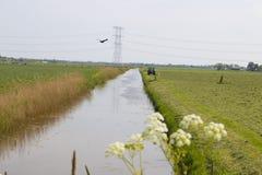 有拖拉机和垄沟的草原 免版税库存照片
