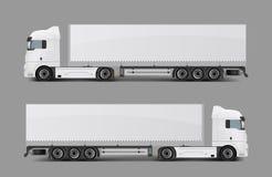 有拖车现实传染媒介的半货物卡车 库存例证