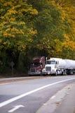 有拖车的两辆大半船具卡车在有yello的秋天路 库存照片
