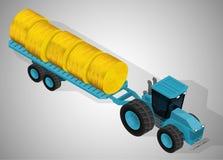 有拖车的农用拖拉机 向量例证