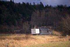 有拖车的卡车在野生生物围拢的弯曲道路 免版税库存照片