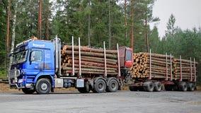 有拖车的蓝色Sisu极性木材卡车有很多云杉的日志 免版税图库摄影