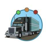 有拖车的黑货物汽车 库存图片