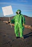 有招贴的科学家化学家 免版税图库摄影