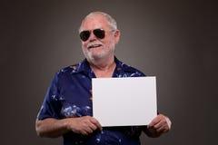 有招贴的愉快的人 免版税图库摄影