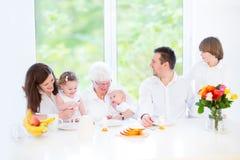 有拜访祖母的三个孩子的愉快的家庭 免版税库存照片