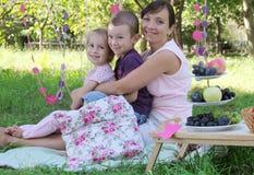 有拥抱在夏天野餐的两个孩子的母亲 免版税库存照片