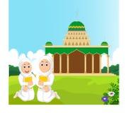 有拥抱的一本书两个穆斯林妇女与清真寺bacground 免版税库存照片