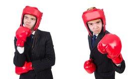 有拳击手套的年轻雇员在白色 图库摄影