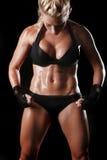 有拳击齿轮的女性 图库摄影