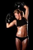 有拳击齿轮的女性 免版税库存图片
