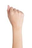 有拳头姿态后部的妇女的手 库存照片