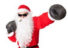 有拳击手套的圣诞老人 免版税库存照片