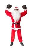 有拳击手套的圣诞老人 库存照片