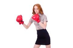 有拳击手套的妇女女实业家 库存图片