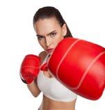 有拳击手套的妇女 免版税库存照片