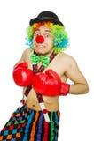 有拳击手套的小丑 免版税库存图片