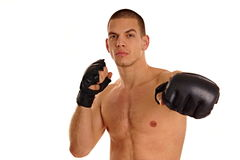 有拳击手的年轻人 免版税库存图片