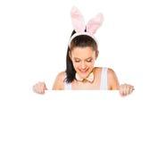 有拿着一个白色空白的标志的兔宝宝耳朵的逗人喜爱的妇女 免版税库存照片