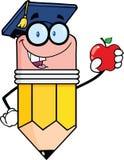 有拿着红色苹果计算机的毕业生帽子的铅笔老师 库存照片