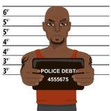 有拿着面部照片的纹身花刺的非裔美国人的罪犯 库存例证